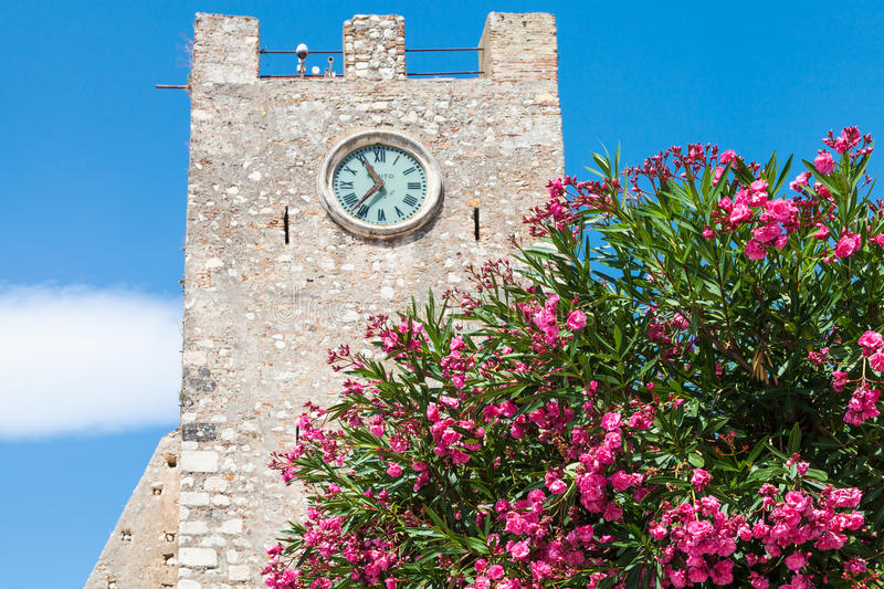 Oleander tree and medieval clock tower in Taormina. Travel to Sicily, Italy - oleander tree and medieval clock tower & x28;Torre dell Orologio& x29; at Piazza IX stock images