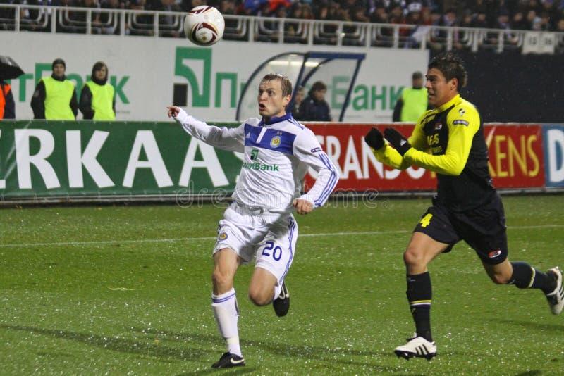 Oleg Gusev de dynamo Kyiv (l) et Hector Moreno de image stock
