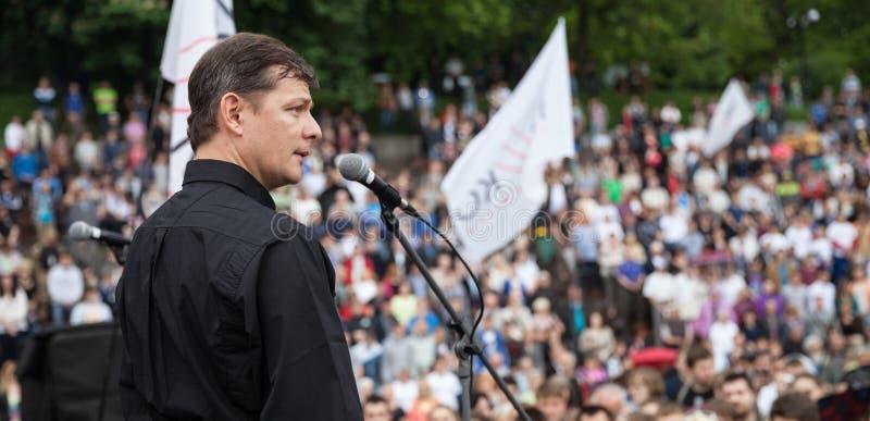 Oleh Liashko spreekt op verkiezingsvergadering in Kiev royalty-vrije stock foto