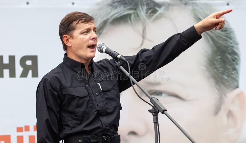 Oleh Liashko spreekt op verkiezingsvergadering in Kiev royalty-vrije stock afbeelding