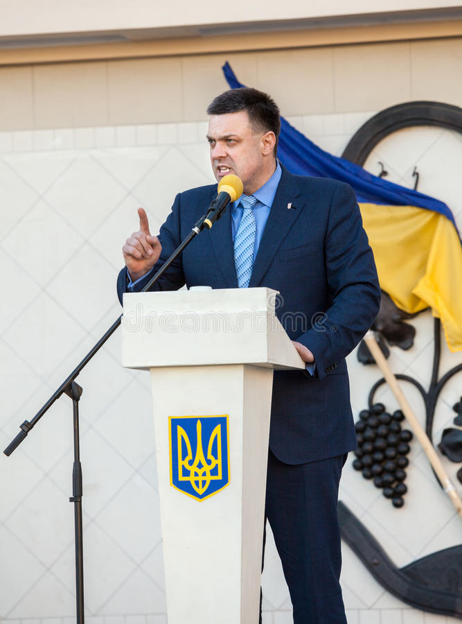 Oleh Tiahnybok fala na reunião da eleição em Uzhgorod fotos de stock