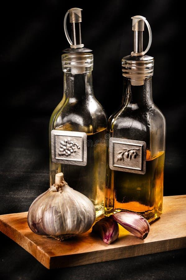 Olej, ocet i czosnek, zdjęcia stock