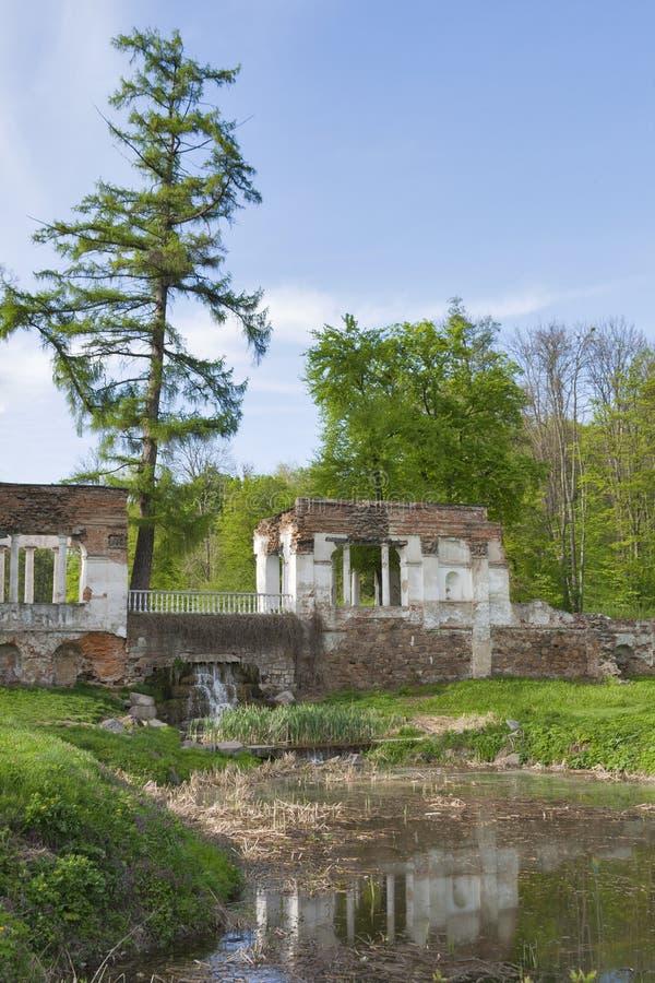 Oleksandriia Park in Bila Tserkva, Ukraine. Old ruins in Oleksandriia Park founded in 1793 by the wife of the Polish hetman Franciszek Ksawery Branicki in Bila stock photography