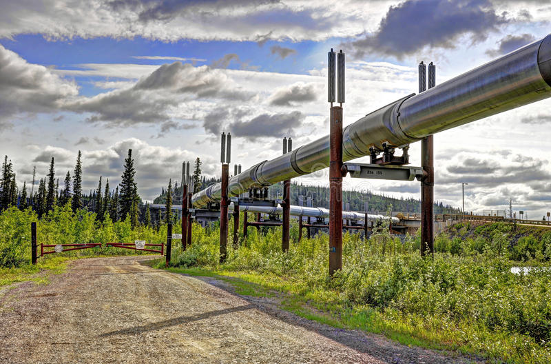 Oleoduto do transporte Alaska fotos de stock royalty free