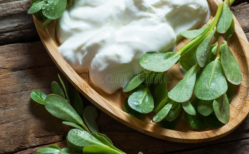 Oleracea fresco de Portulaca del purslane, malas hierbas comestibles con el yogur en la tabla de madera foto de archivo