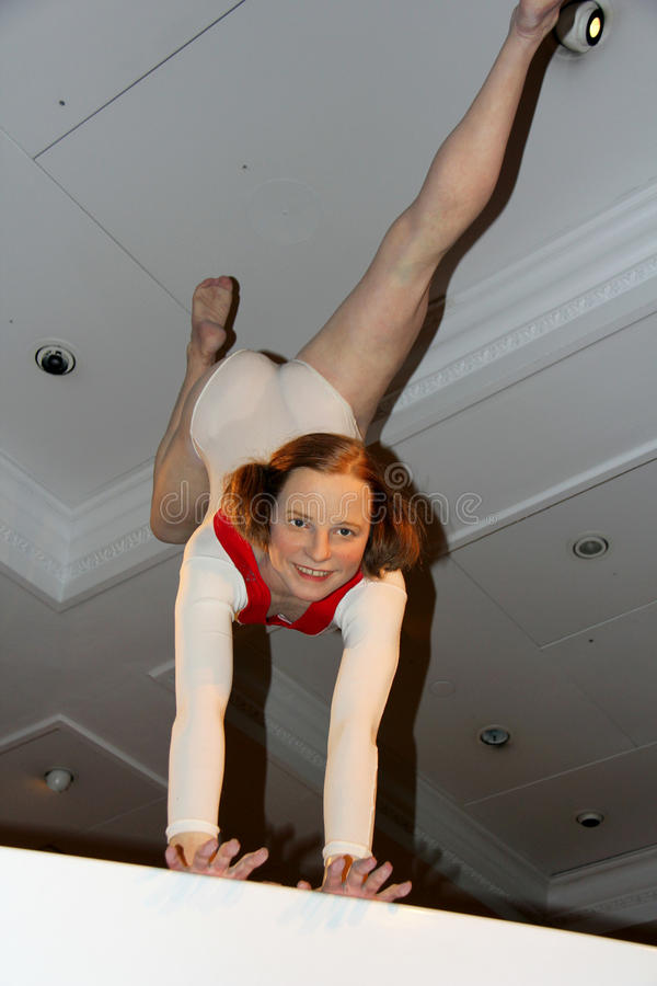 Olga Korbut. London, - United Kingdom, 08, July 2014. Madame Tussauds in London. Waxwork statue of Olga Korbut. Created by Madam Tussauds in 1884, Madam Tussauds royalty free stock photo