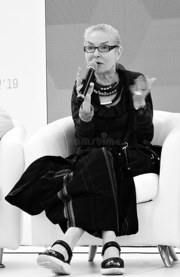 Olga Lvovna Sviblova, cabeça do museu de artes dos multimédios em Moscou imagem de stock