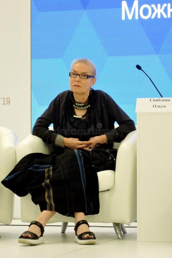 Olga Lvovna Sviblova, diretor do museu de artes dos multim?dios em Moscou imagem de stock