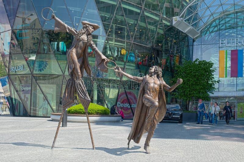 Olga and Pat sculptures, Bratislava, Slovakia stock photos