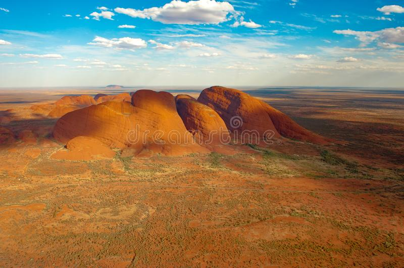 The Olgas - Kata Tjuta - Australia, aerial view. royalty free stock photo