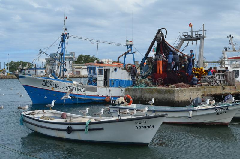 The crew of a purse seiner collects its nets in Olhao fishing harbour, Algarve, Southern Portugal. Olhão is a municipality and urban community in the Algarve stock images