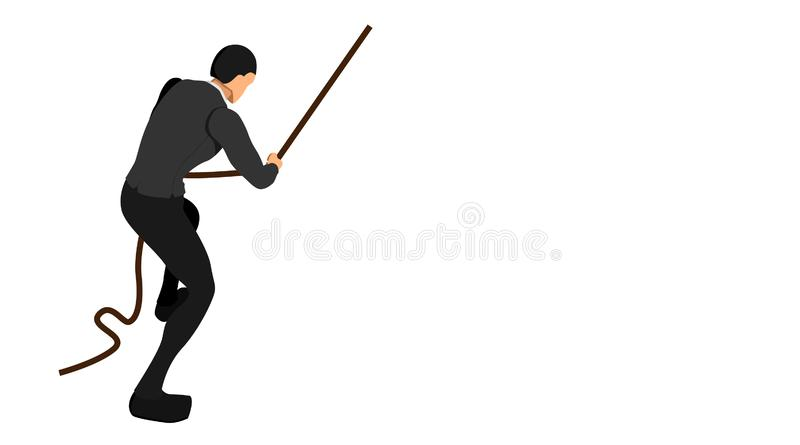 Olha isométrico um homem de negócios que puxa a corda com sua mão projeto do arquivo do vetor do molde do fundo do negócio foto de stock