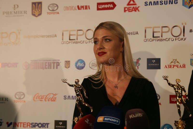 Olha Kharlan na conferência de imprensa foto de stock royalty free