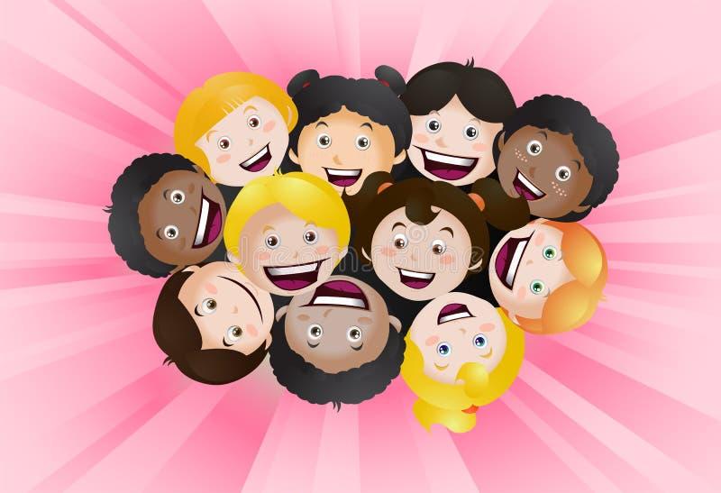 Olhando acima crianças felizes ilustração do vetor