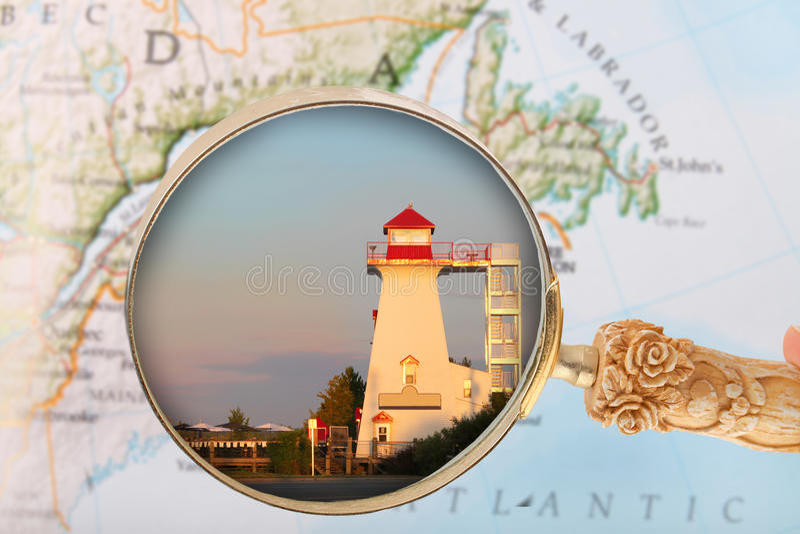 Olhando dentro em Fredericton, Brunsick novo foto de stock