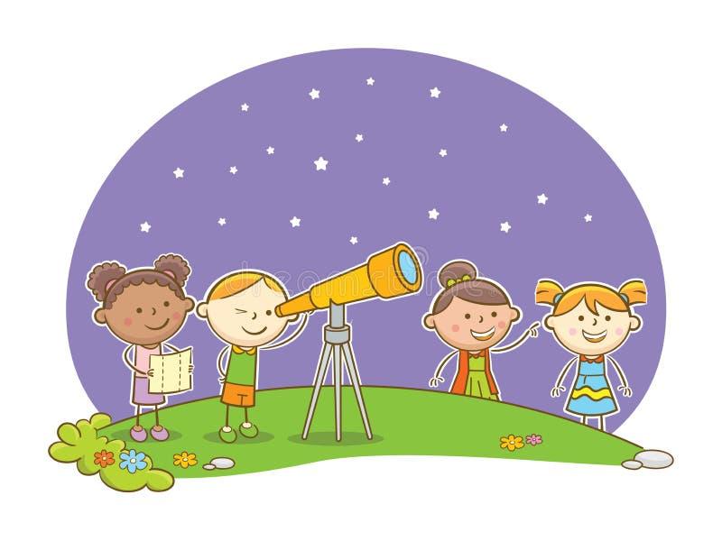 Olhando estrelas ilustração do vetor