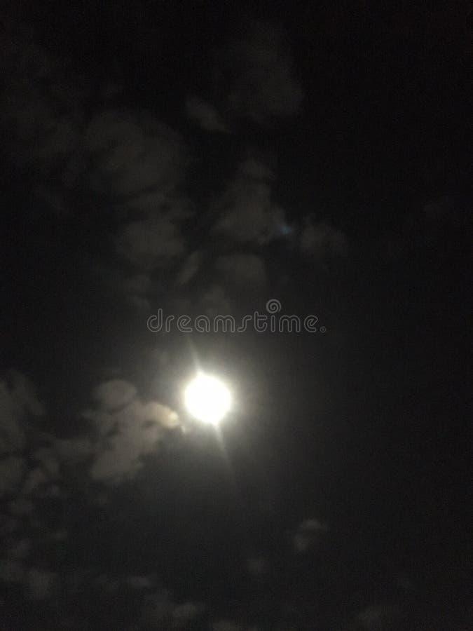 Olhando a lua em um tardio escuro imagem de stock