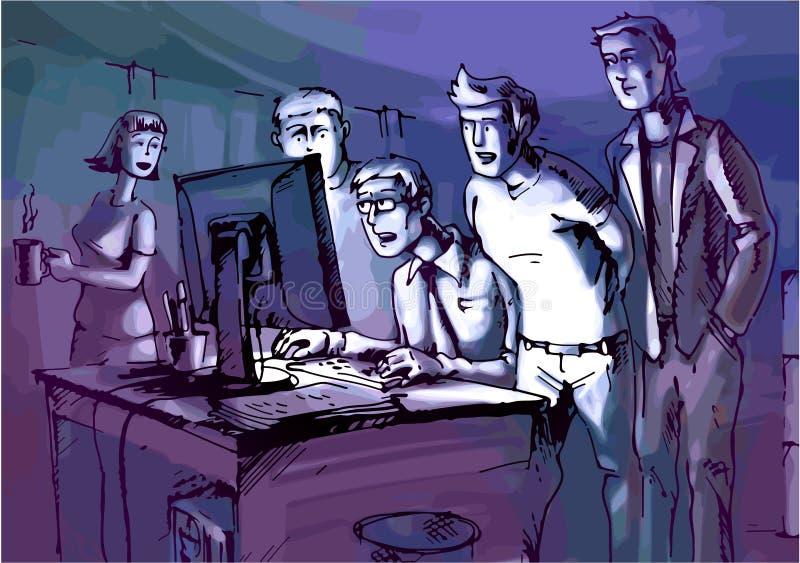 Olhando o monitor ilustração stock