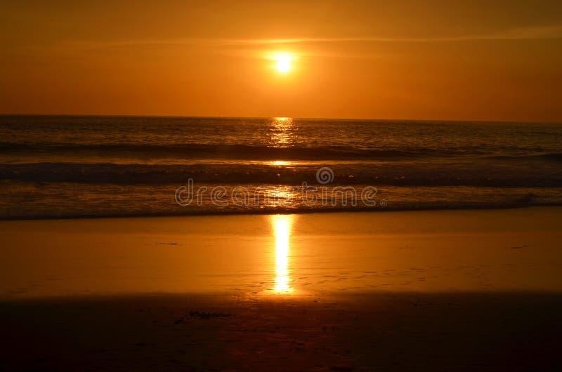 Olhando pores do sol na praia imagens de stock