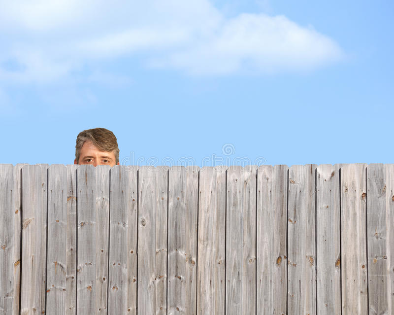Olhando tom que desengaça sobre o assediador de madeira da cerca fotos de stock royalty free