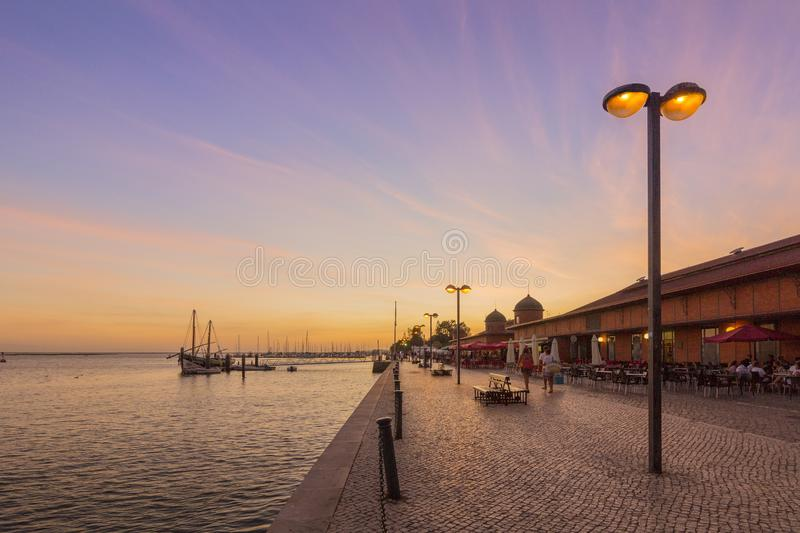Olhao city market waterfront view to Ria Formosa sunset, Algarve. Portugal stock photo