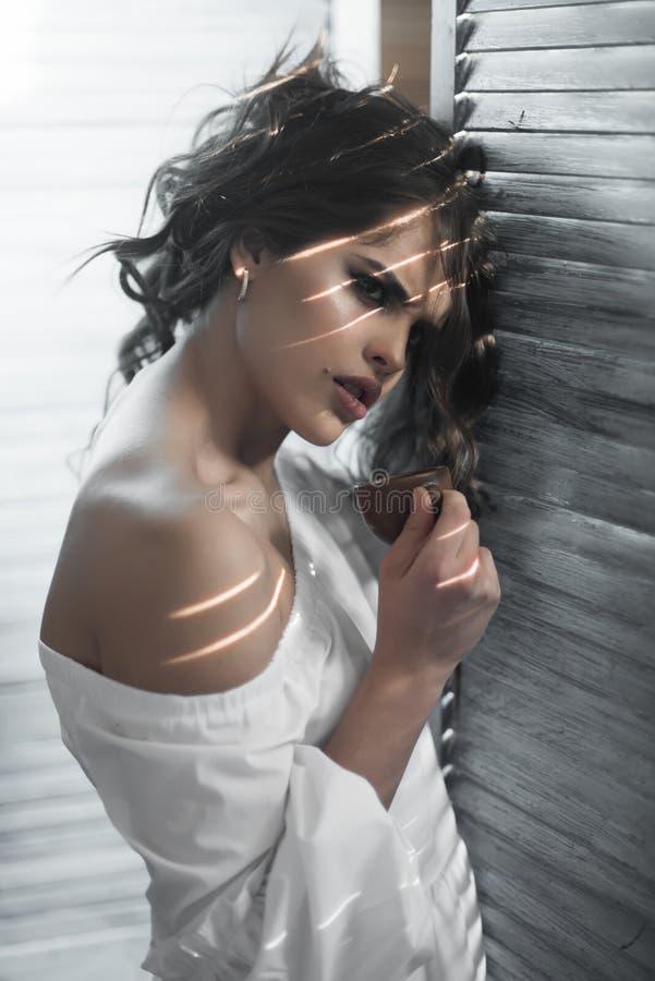 olhar da beleza e da forma menina elegante com cabelo elegante mulher sensual com composição, manhã À moda e seguro foto de stock royalty free