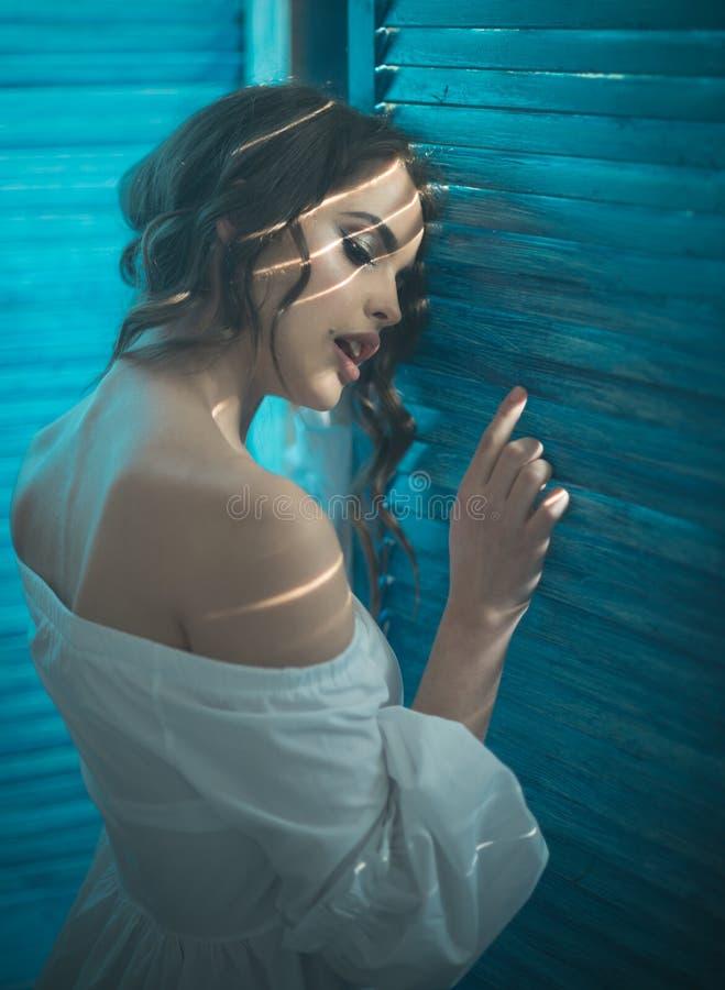 olhar da beleza e da forma Mulher da forma com composição e cabelo encaracolado mulher sensual com composição, skincare Menina el imagens de stock