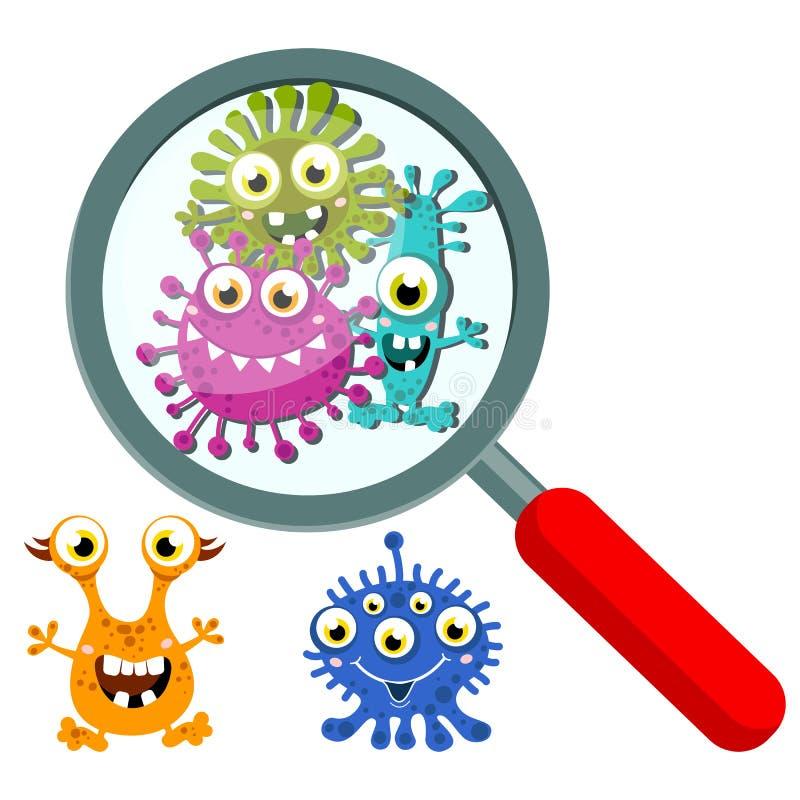 Olhar da lupa através do germe, bactérias, vírus, micróbio, caráteres do micróbio patogênico ilustração royalty free