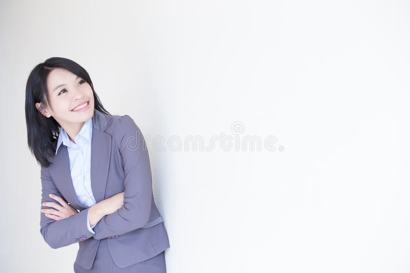 Olhar da mulher de negócio algo fotografia de stock royalty free