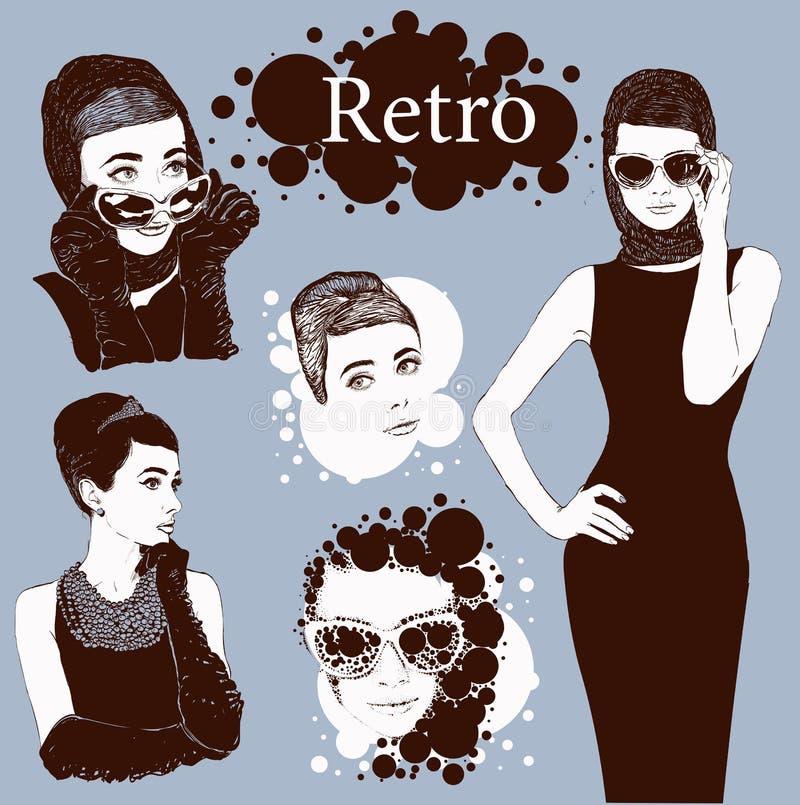 Olhar das senhoras da forma em pouco vestido preto ilustração royalty free