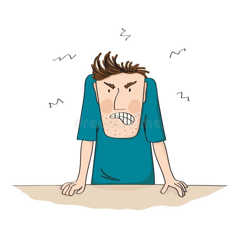 Olhar de sobrancelhas franzidas homem irritado e furioso completamente da raiva - mão original ilustração tirada ilustração do vetor