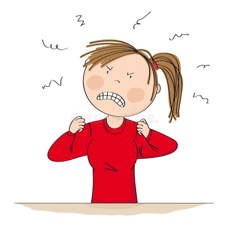 Olhar de sobrancelhas franzidas mulher irritada e furioso completamente da raiva com suas mãos no punho - mão original ilustração ilustração royalty free