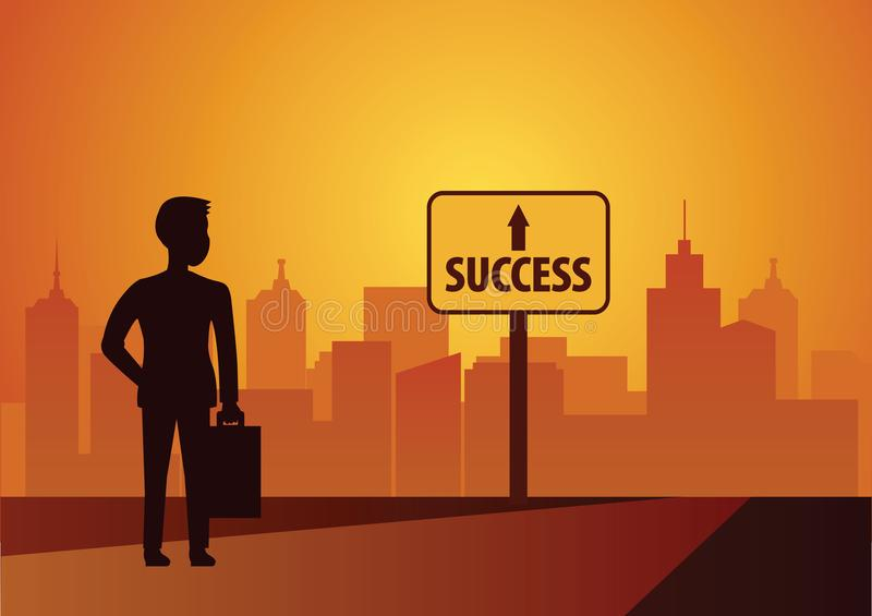 Olhar do homem de negócios ao sinal do sucesso andar e alcançar esperançosamente ilustração royalty free