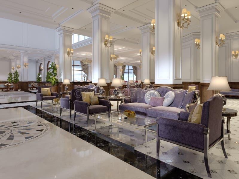 Olhar interior da entrada victorian luxuosa do hotel do estilo ilustração do vetor