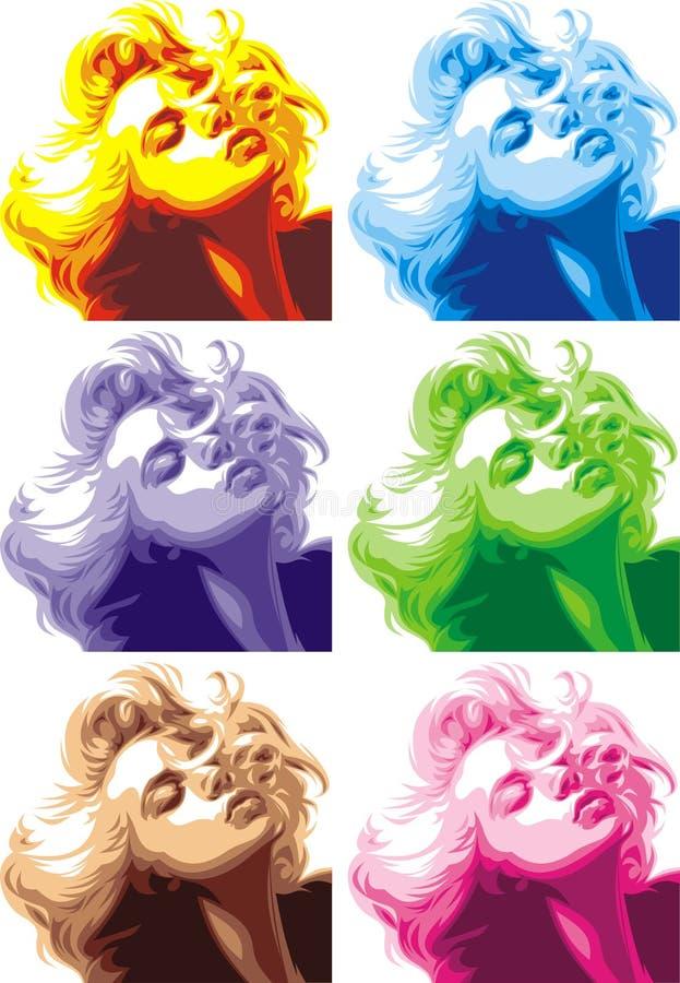 Olhar louro da menina como Marilyn Monroe ilustração stock