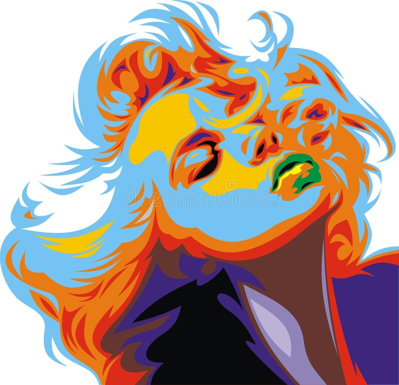 Olhar louro da menina como Marilyn Monroe ilustração royalty free