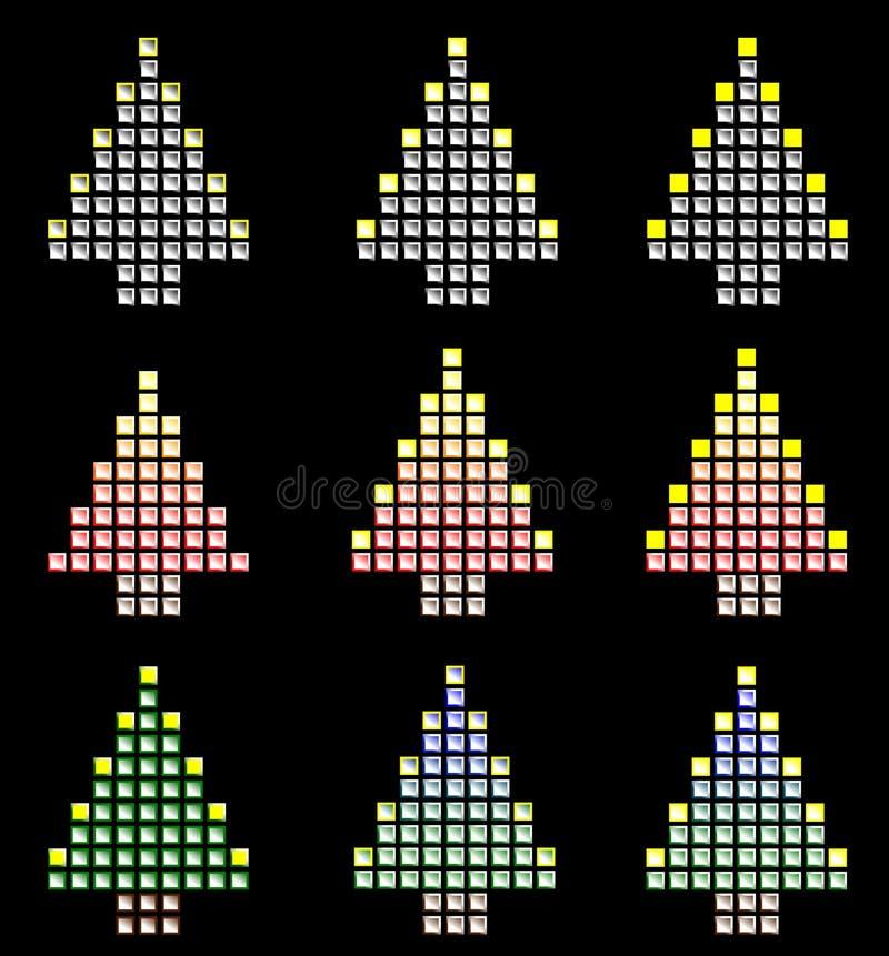 Olhar metálico da árvore de Natal fotografia de stock royalty free