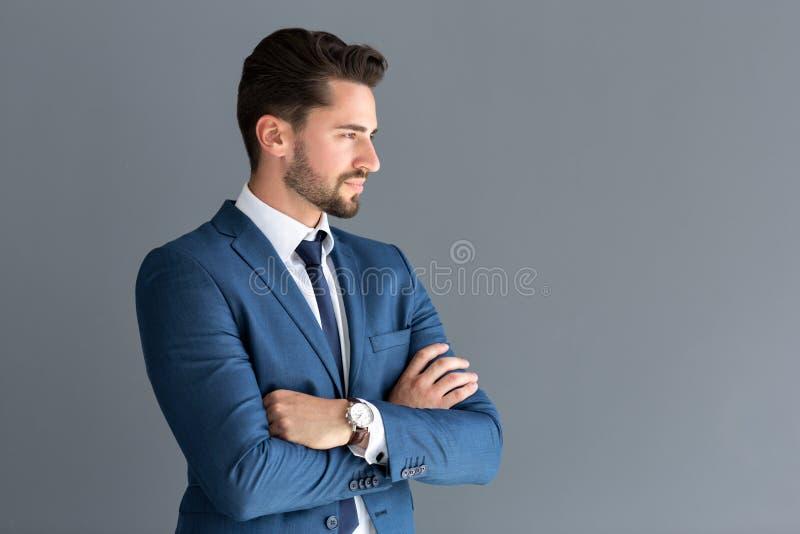 Olhar modelo na distância, imagem lateral do perfil imagens de stock royalty free