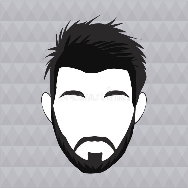 Olhar moderno do cabelo da barba do homem do moderno ilustração stock