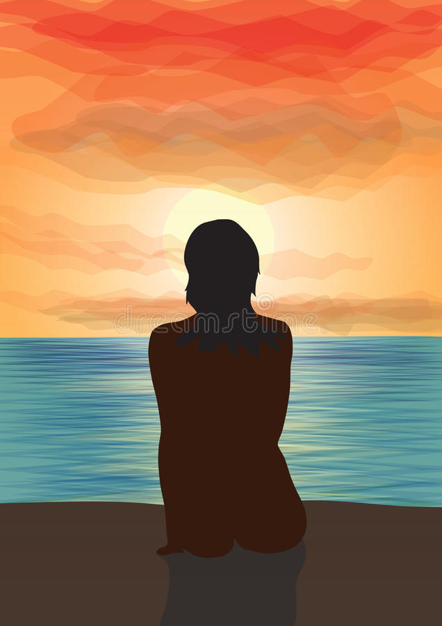 Olhar no por do sol. ilustração do vetor