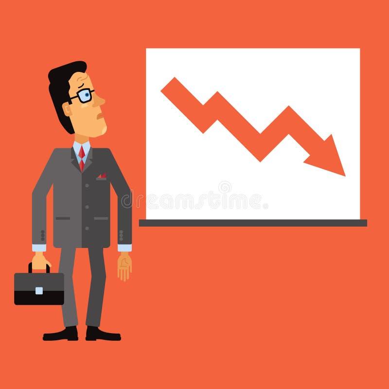 Olhar triste do homem de negócio em uma carta ou em um gráfico Para baixo seta, representando a gota no negócio ilustração do vetor