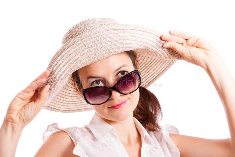 Olhe de debaixo dos óculos de sol fotografia de stock