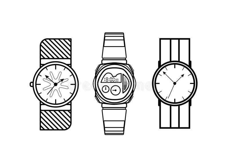 Olhe linhas ícones do vetor formar o estilo no fundo branco ilustração royalty free