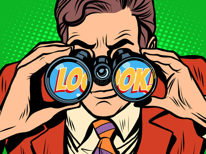 Olhe o homem de negócios que olha através dos binóculos ilustração stock