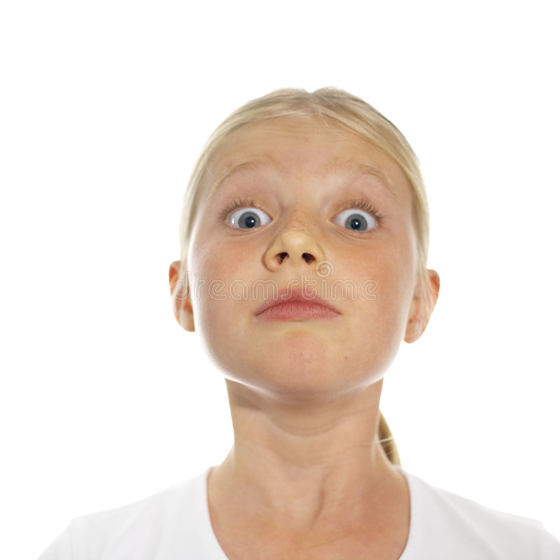 Olhe para fora! face expressivo de uma menina imagem de stock