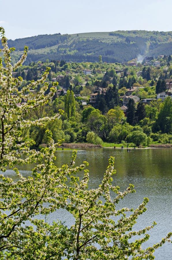 Olhe para o ambiente da represa pitoresca da primavera, vila Pancharevo do recurso na montanha de Plana com a cereja-árvore na fl imagens de stock