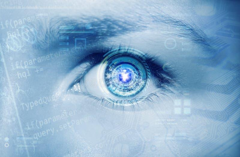 Olho abstrato com círculo digital Ciência futurista da visão e conceito da identificação fotos de stock royalty free