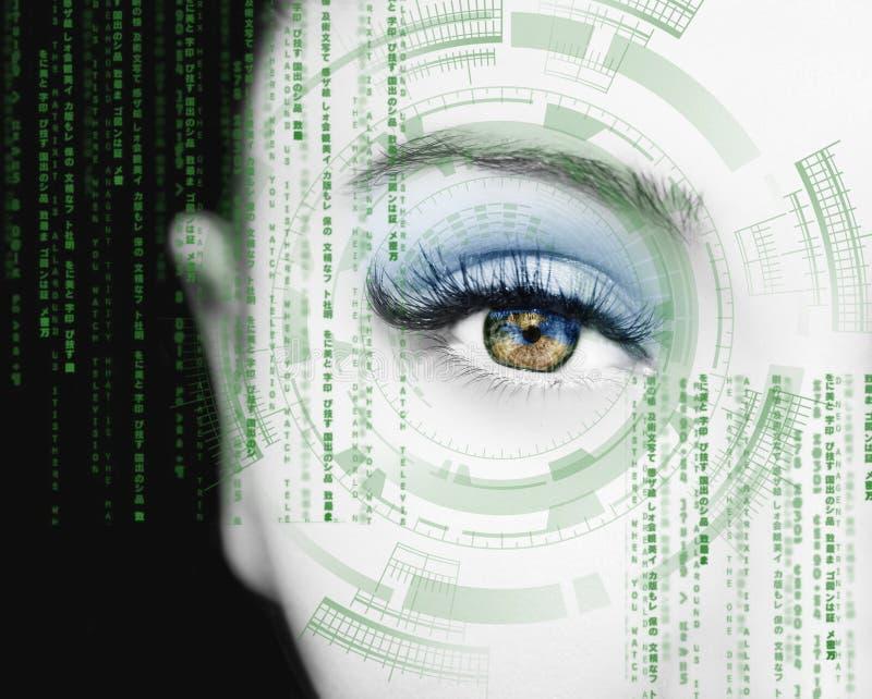 Olho abstrato com círculo digital Ciência futurista da visão e conceito da identificação fotos de stock