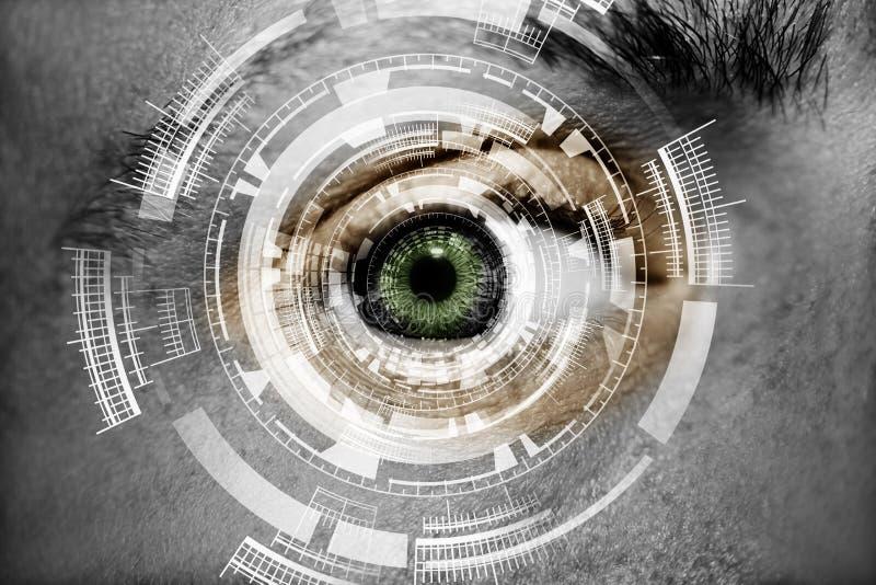 Olho abstrato com círculo digital Ciência futurista da visão e conceito da identificação foto de stock royalty free