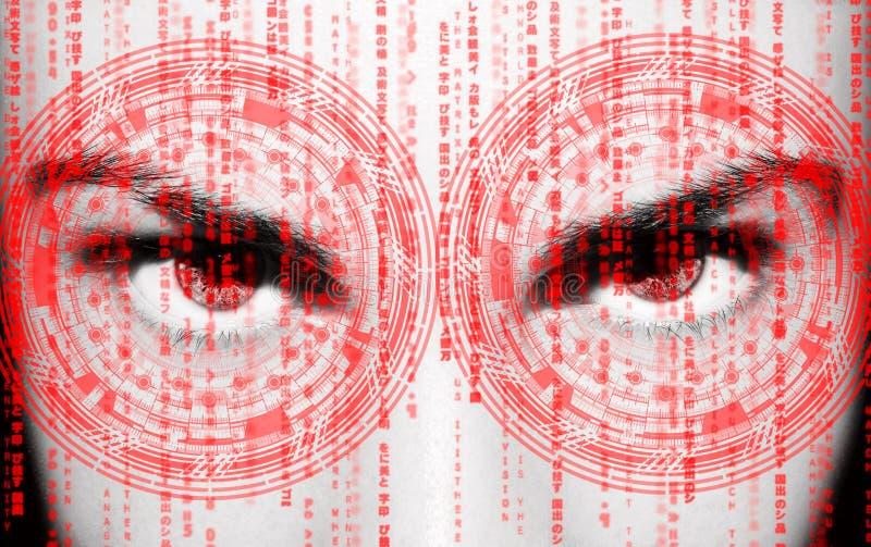 Olho abstrato com c?rculo digital Ci?ncia futurista da vis?o e conceito da identifica??o imagem de stock royalty free